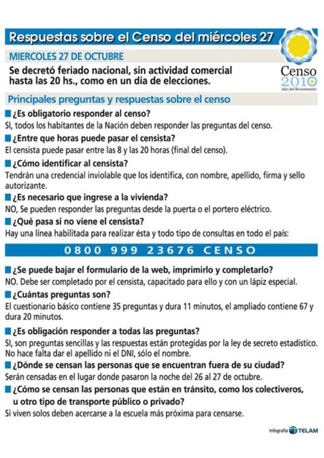 Respuesios sobre el Censo del miércoles 27  MIERCOLES 27 DE OCTUBRE Se decreto feriado nacional,  sin actividad comercial ...