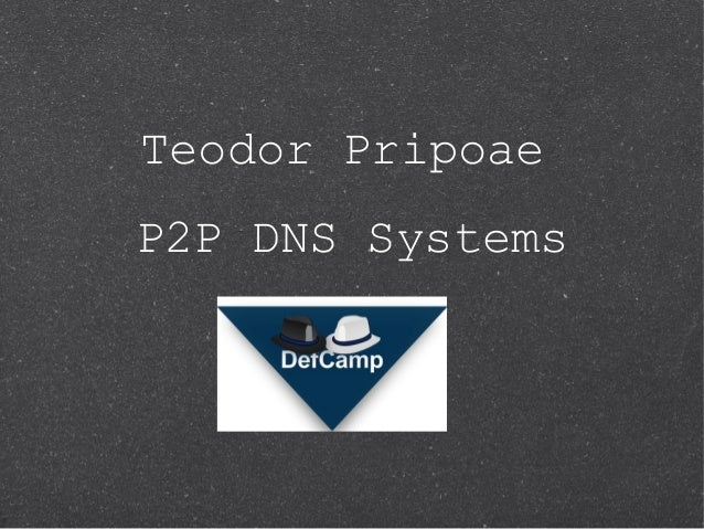 Teodor PripoaeP2P DNS Systems