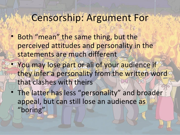 "the different aspects of censorship Assisant professor "" self-censorship, in other words, is no different from locking up your front door when journalists limit or ignore aspects of a."
