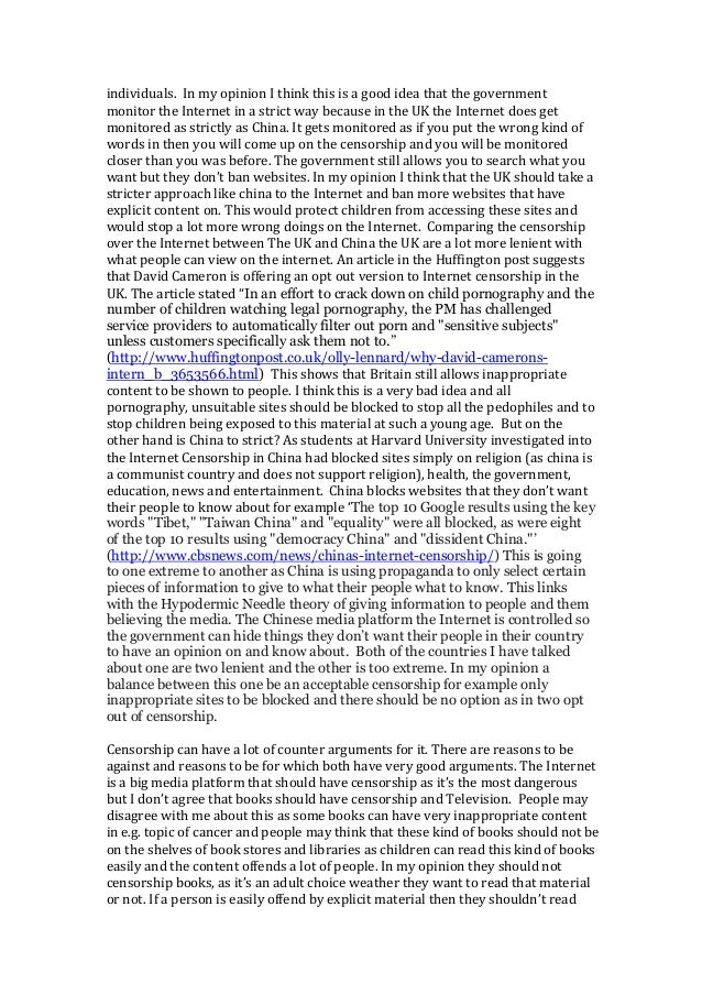 censorship internet thesis The first part of the thesis presents the theoretical basis of the research and the   computer bulletin boards, and then the technology of the internet from a small.