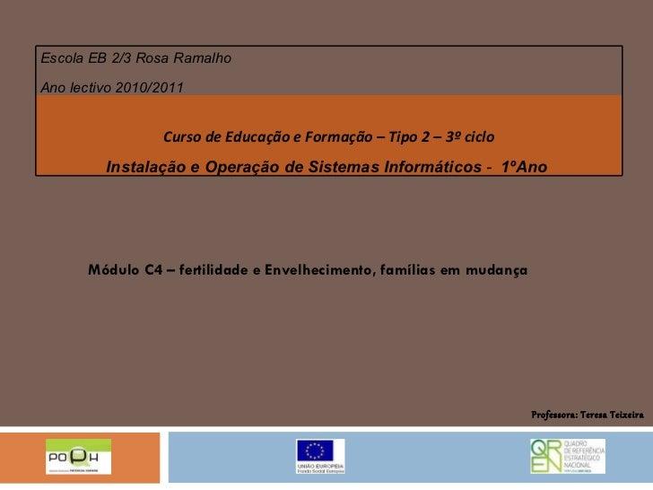 Módulo C4 – fertilidade e Envelhecimento, famílias em mudança Professora: Teresa Teixeira Escola EB 2/3 Rosa Ramalho Ano l...