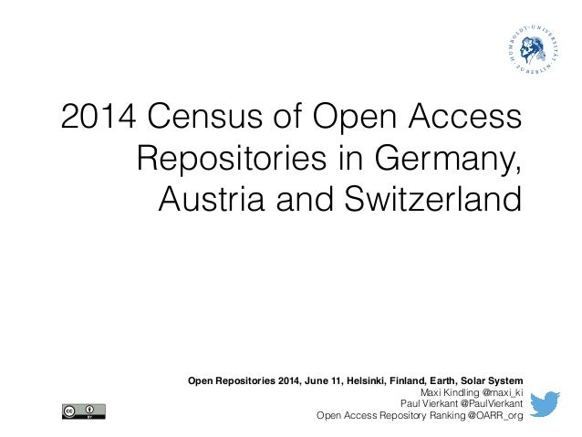2014 Census of Open Access Repositories in Germany, Austria and Switzerland Open Repositories 2014, June 11, Helsinki, Fin...