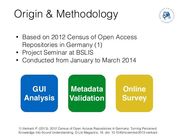 Origin & Methodology • Based on 2012 Census of Open Access Repositories in Germany (1) • Project Seminar at BSLIS • Conduc...