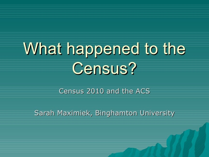 What happened to the Census? Census 2010 and the ACS Sarah Maximiek, Binghamton University