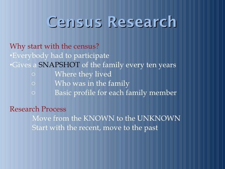 Census Research <ul><li>Why start with the census? </li></ul><ul><li>Everybody had to participate </li></ul><ul><li>Gives ...