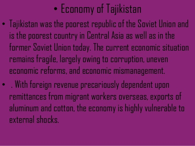 Cental And East Asia - The poorest country in central asia