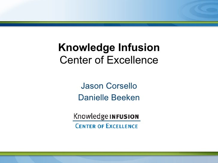 Knowledge Infusion Center of Excellence Jason Corsello Danielle Beeken