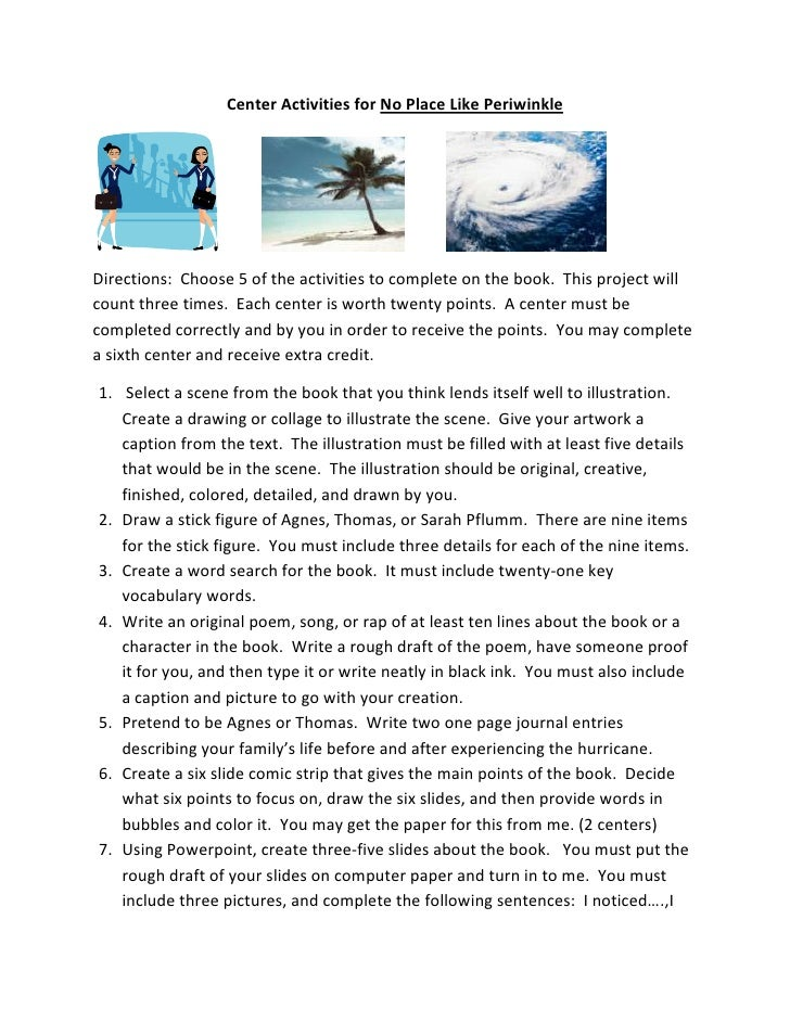 Center Activities for No Place Like Periwinkle<br />                    <br />Directions:  Choose 5 of the activities to c...