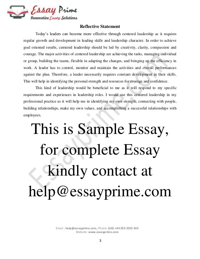 Centered leadership Essay Sample