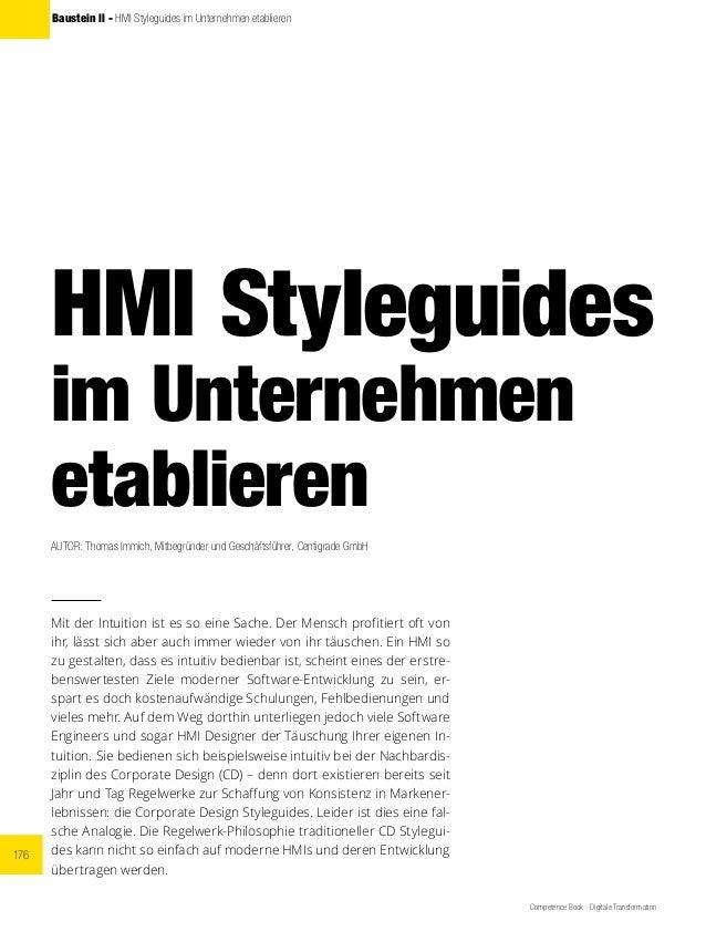 176 Competence Book - Digitale Transformation Baustein ll - HMI Styleguides im Unternehmen etablieren HMI Styleguides im U...