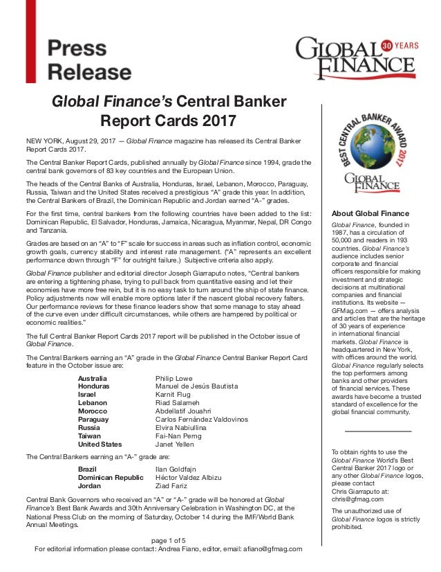 Central bank report card 2017 1503949890 global finances central banker report cards 2017 about global finance global finance founded in 1987 publicscrutiny Image collections