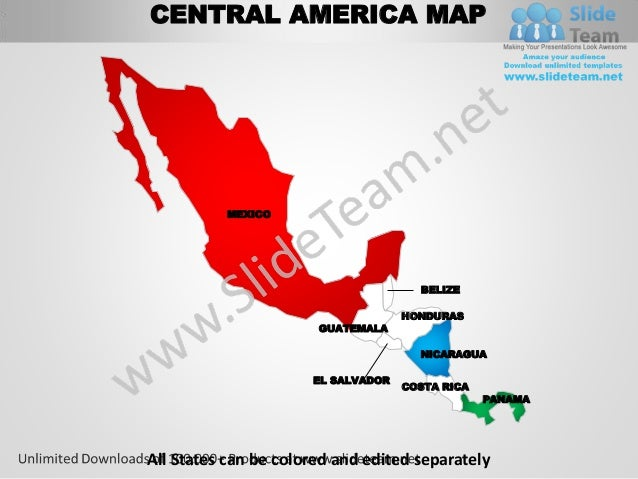 Central america powerpoint editable continent map with countries temp central america toneelgroepblik Images