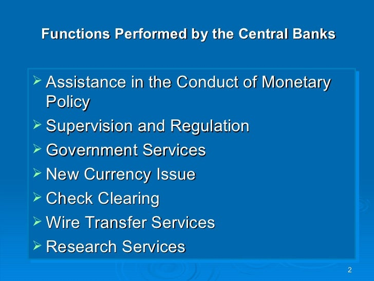 Central bank duties