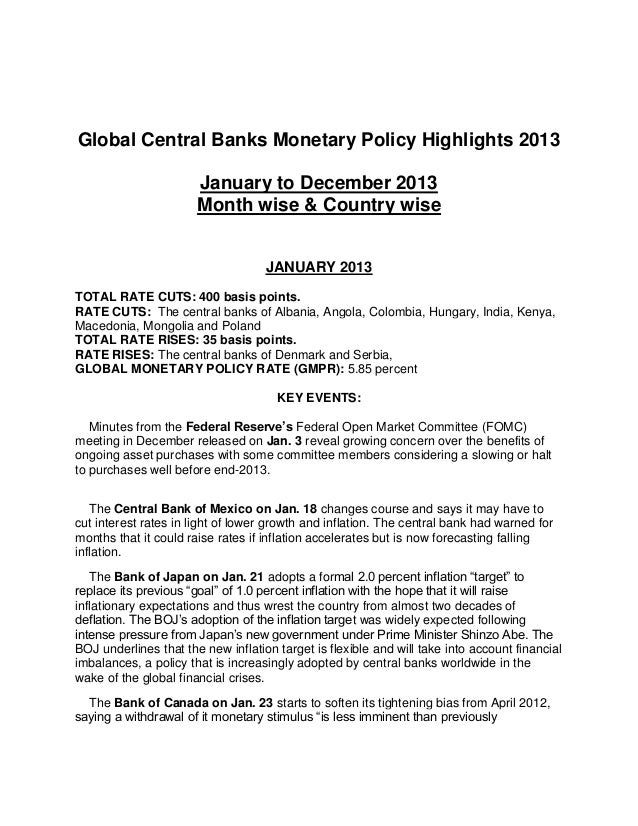 Global Central Banks Monetary Policy Highlights 2013 January to December 2013 Month wise & Country wise JANUARY 2013 TOTAL...