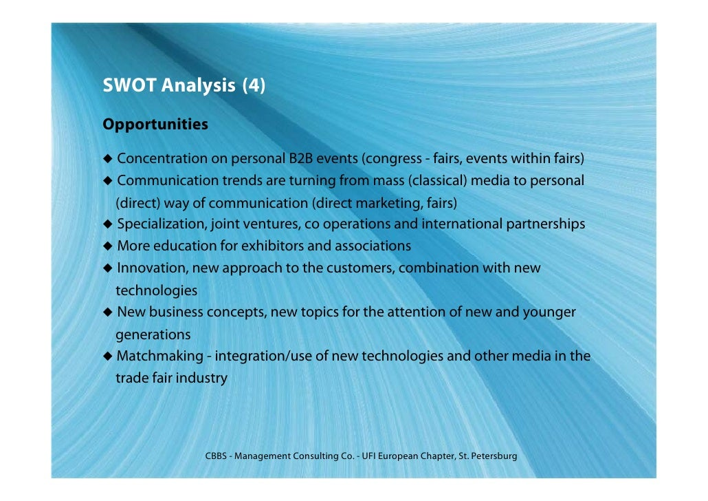 exhibition management swot analysis Conduct a swot analysis to describe, analyze, and evaluate your organization's hrm strategy please be sure to identify at least 3 to 5 strengths, weaknesses.