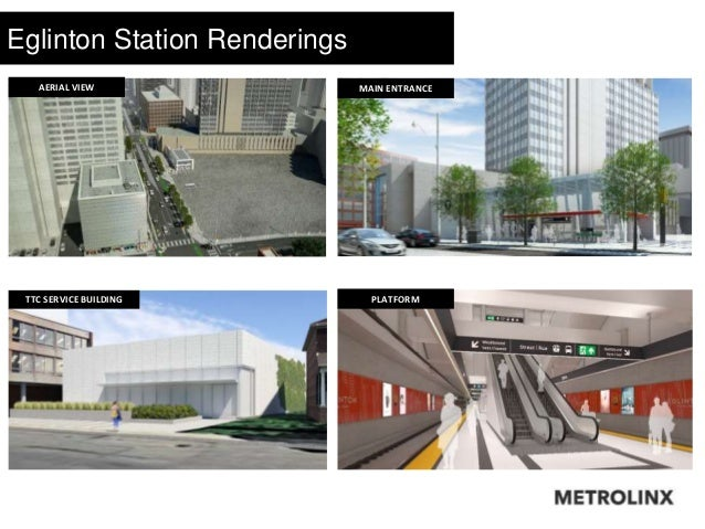 Eglinton Station Renderings Station Features  Accessible main entrance  Covered & uncovered bicycle parking  Retail spa...