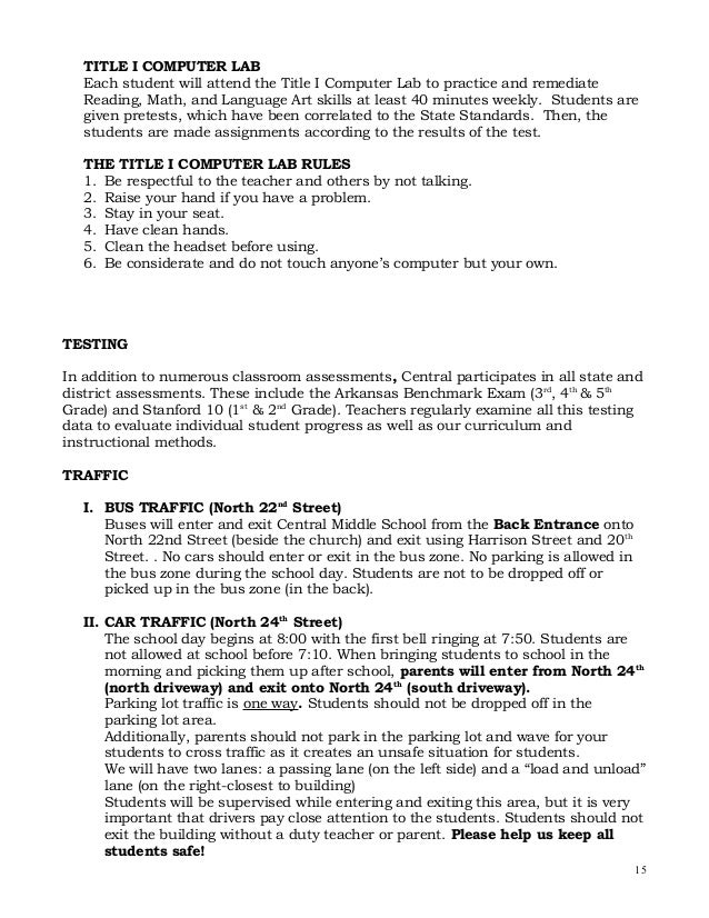 Central elementary school student handbook technology acceptable userefer to district policy 318 14 15 pronofoot35fo Image collections