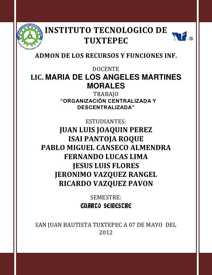 INSTITUTO TECNOLOGICO DE           TUXTEPECADMON DE LOS RECURSOS Y FUNCIONES INF.                  DOCENTELIC. MARIA DE LO...