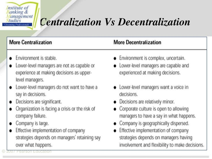 centralisation vs decentralisation Hr centralization vs decentralization in january 2014, state personnel leaders sat down at the annual national association of state personnel executives (naspe) mid-year meeting in washington, dc to discuss the top human resource.