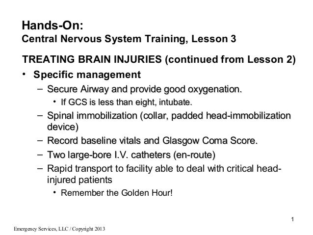 Emergency Services, LLC / Copyright 20131TREATING BRAIN INJURIES (continued from Lesson 2)• Specific management– Secure Ai...