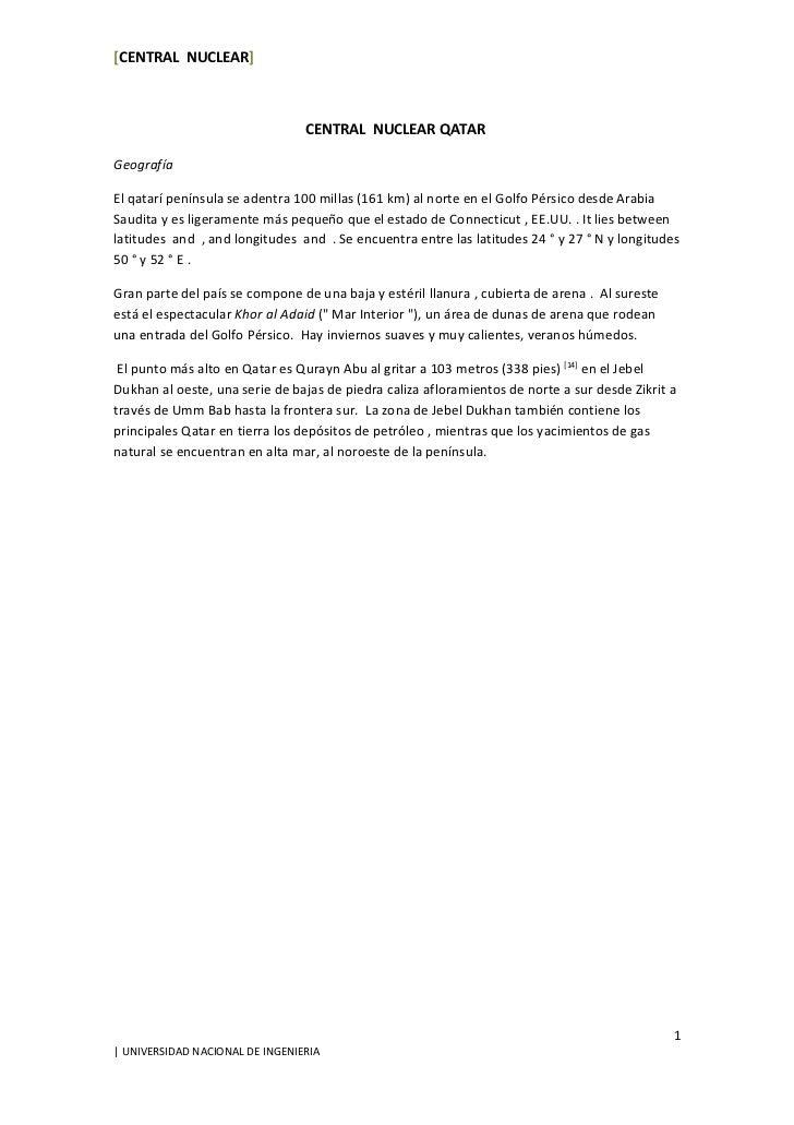 [CENTRAL NUCLEAR]6 de abril de 2011                                 CENTRAL NUCLEAR QATARGeografíaEl qatarí península se a...