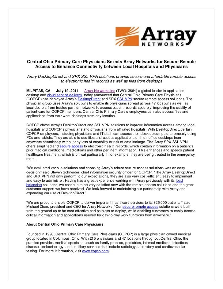 Central Ohio Primary Care Physicians Selects Array Networks
