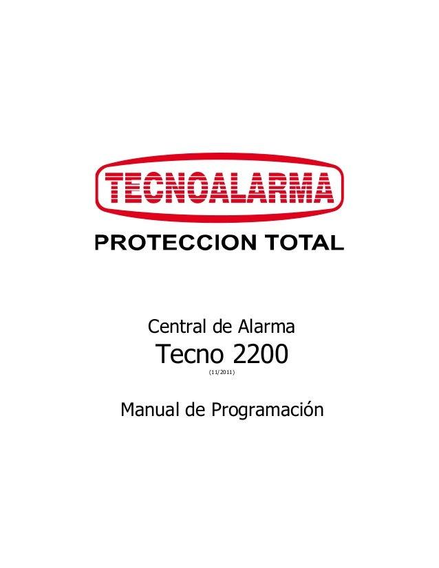 Central de Alarma  Tecno 2200  (11/2011)  Manual de Programación
