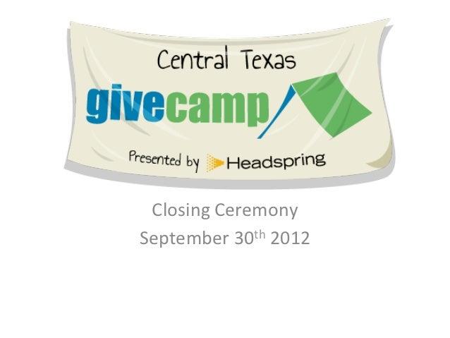 Closing Ceremony September 30th 2012