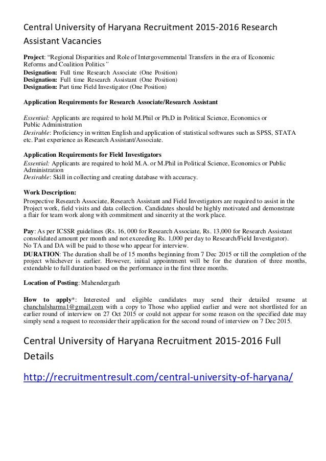 Central University of Haryana Recruitment 2015-2016 Research Assistan…