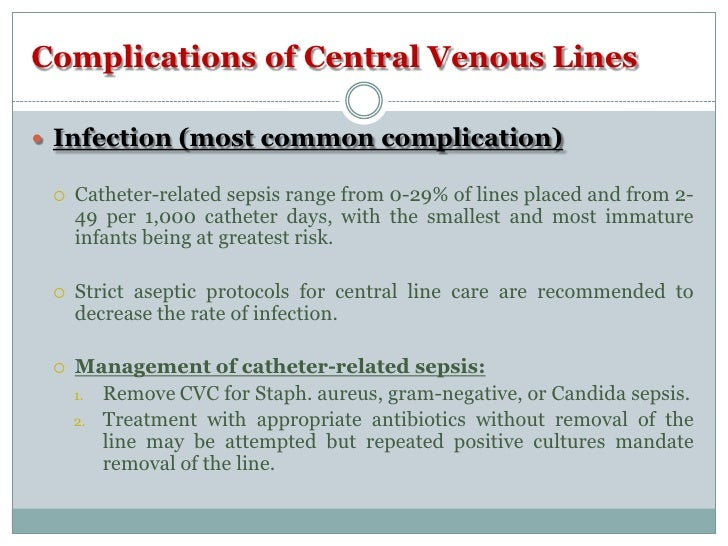Precautions for Central Venous Catheters in Neonates