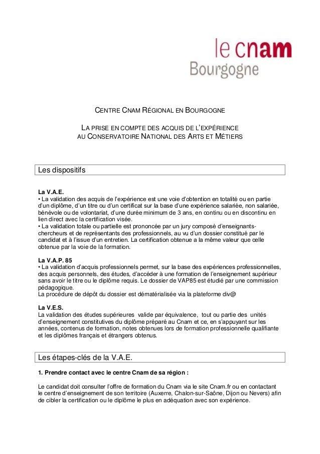 CENTRE CNAM RÉGIONAL EN BOURGOGNE LA PRISE EN COMPTE DES ACQUIS DE L'EXPÉRIENCE AU CONSERVATOIRE NATIONAL DES ARTS ET MÉTI...