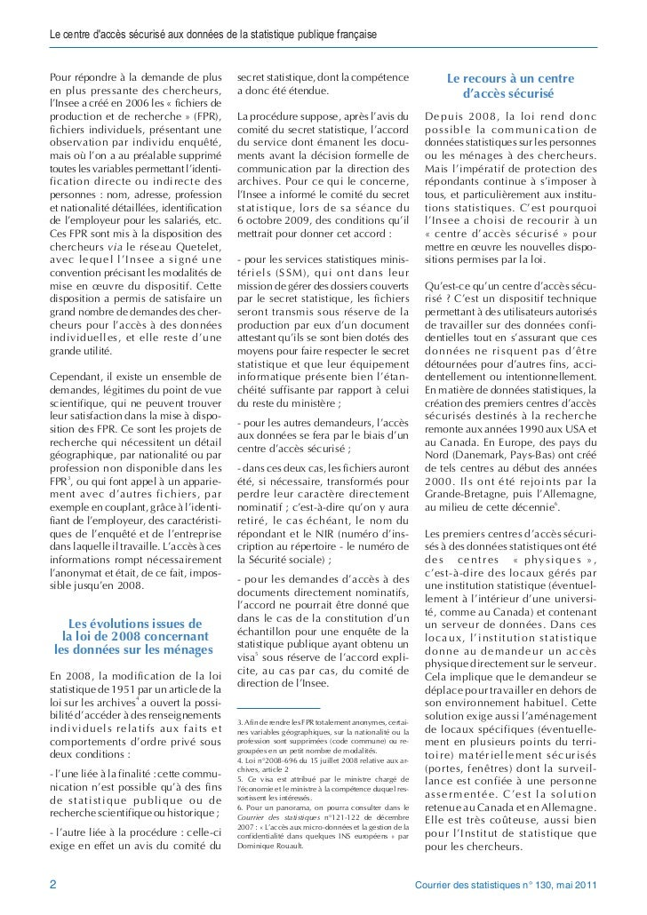 Le centre daccès sécurisé aux données de la statistique publique françaisePour répondre à la demande de plus          secr...