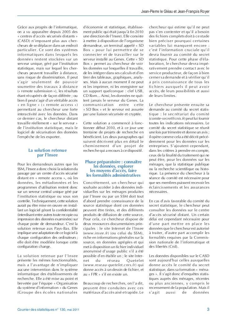 Jean-Pierre le Gléau et Jean-François RoyerGrâce aux progrès de l'informatique,         d'économie et statistique, établis...