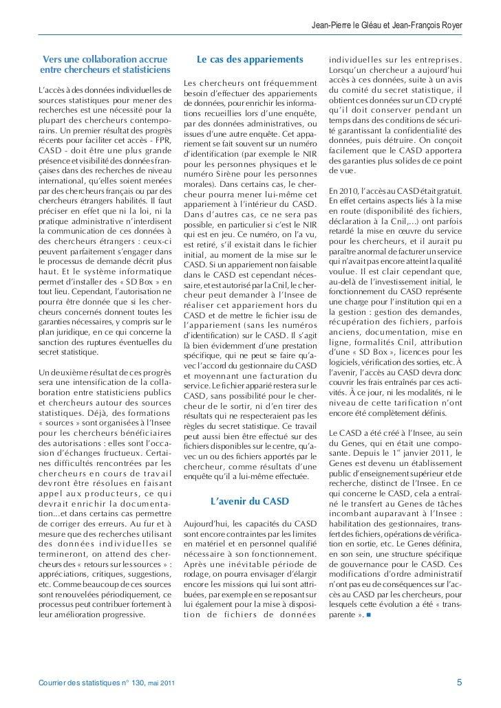 Jean-Pierre le Gléau et Jean-François Royer Vers une collaboration accrue                          Le cas des appariements...