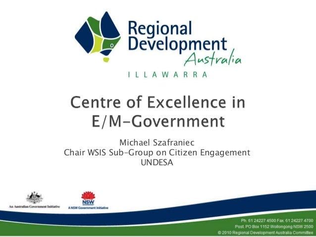 Michael Szafraniec Chair WSIS Sub-Group on Citizen Engagement UNDESA