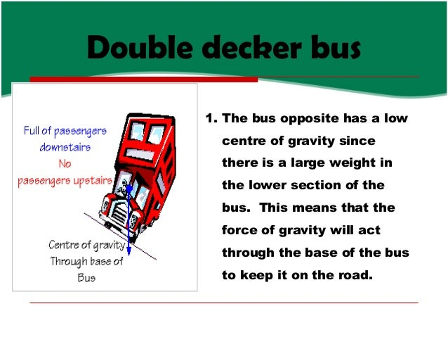 Double decker bus 1. The bus opposite has a low centre of gravity since there is a large weight in the lower section of th...