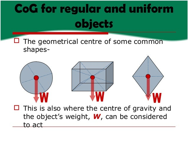 CoG for regular and uniform objects  The geometrical centre of some common shapes-   This is also where the centre of gr...