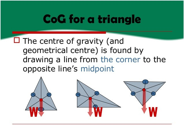 CoG for a triangle  The centre of gravity (and geometrical centre) is found by drawing a line from the corner to the oppo...