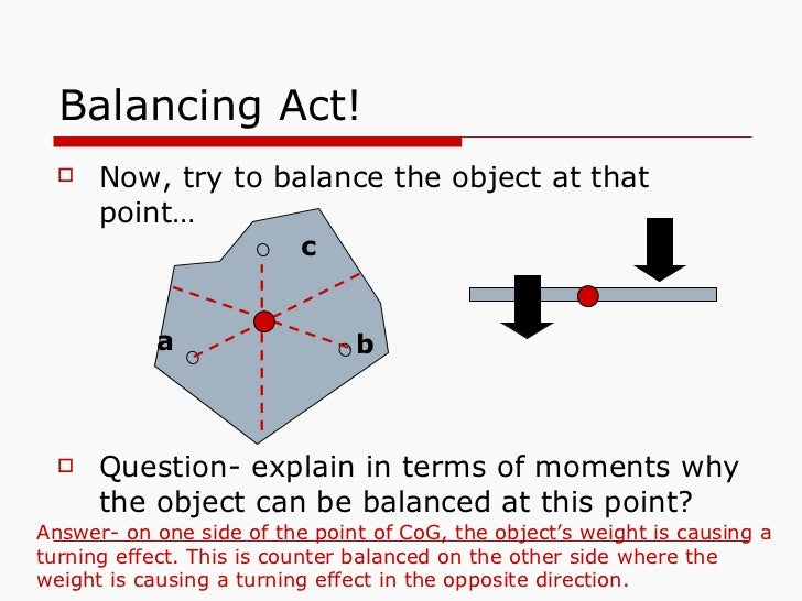 Balancing Act! <ul><li>Now, try to balance the object at that point… </li></ul><ul><li>Question- explain in terms of momen...