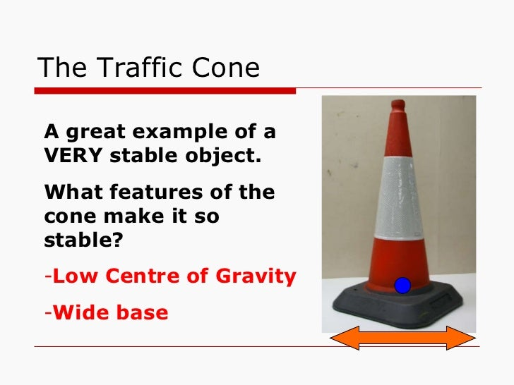 The Traffic Cone <ul><li>A great example of a VERY stable object. </li></ul><ul><li>What features of the cone make it so s...
