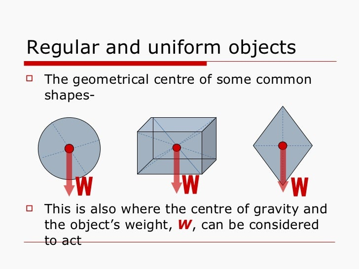 Regular and uniform objects <ul><li>The geometrical centre of some common shapes- </li></ul><ul><li>This is also where the...