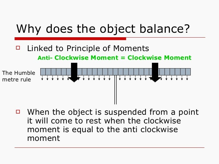 Why does the object balance? <ul><li>Linked to Principle of Moments </li></ul><ul><li>When the object is suspended from a ...