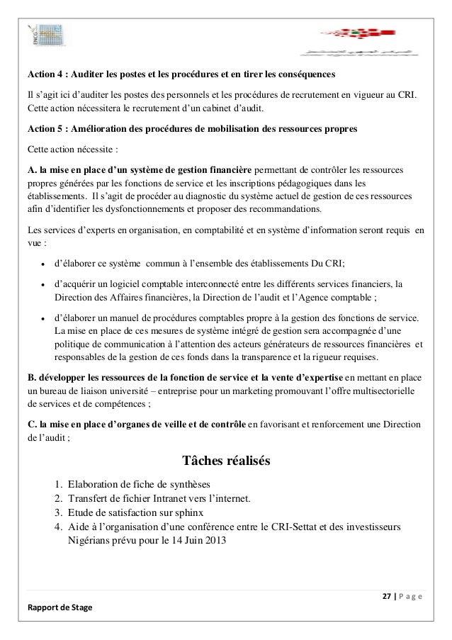 Rapport de stage centre r gional d investissement - Rapport de stage dans un cabinet comptable ...