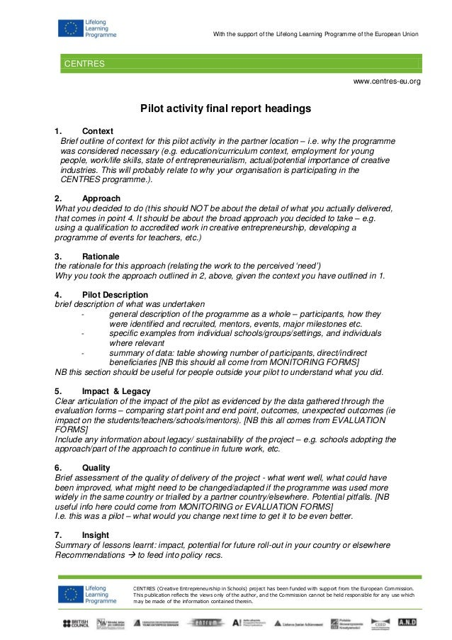 Pilot Activity Final Report Headings 1. Context Brief Outline Of Context  For This Pilot Activity  Event Summary Report Template