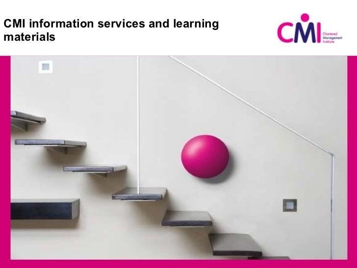 CMI information services and learning materials <ul><li>Title </li></ul>