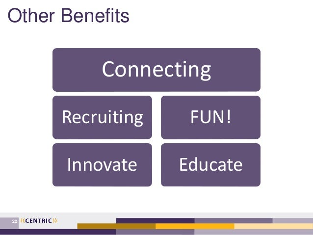 Other Benefits 22 Connecting Recruiting Innovate FUN! Educate