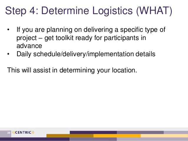 Step 4: Determine Logistics (WHAT) 28 • If you are planning on delivering a specific type of project – get toolkit ready f...