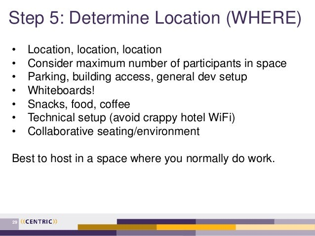 Step 5: Determine Location (WHERE) 29 • Location, location, location • Consider maximum number of participants in space • ...