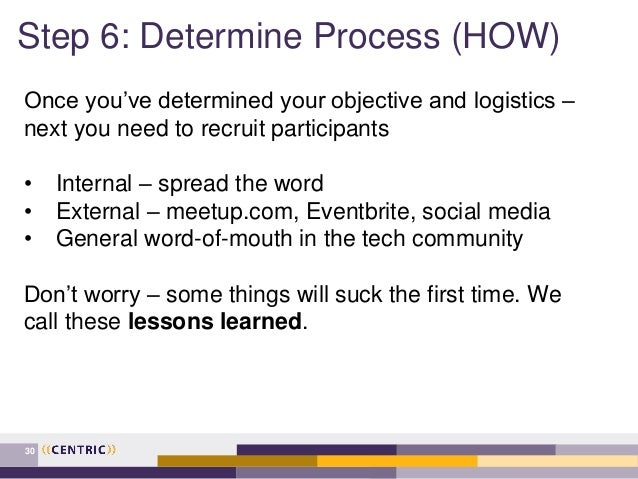 Step 6: Determine Process (HOW) 30 Once you've determined your objective and logistics – next you need to recruit particip...