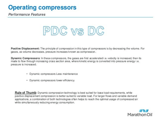 Operating compressors Performance Features Positive Displacement: The principle of compression in this type of compressors...
